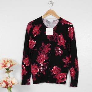 Floral Cardigan Sweater Button Long Sleeve Petite